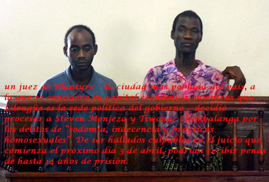 Steven Monjeza and Tiwonge Chimbalanga appear before a magistrate court in Blantyre