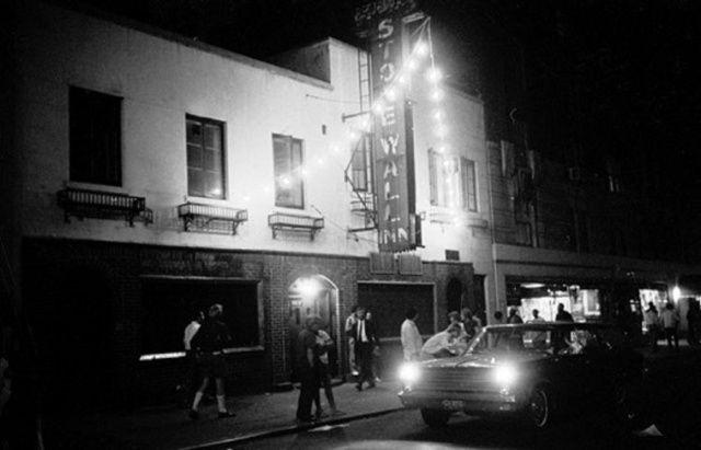 Stonewall Bar 1969 07-02-69. Disturbance on Sheridan Square, NYC. Scenes at Christopher St. and 7th Ave. South with police trying to clear crowds. Pictured, Stonewall Inn which was raided one day last week.(Larry Morris/The New York Times)